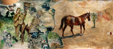 Gallipoli/Being reunited in the desert | oil on paper | 2014 | 3m (w) x 1.3m (h) | SOLD