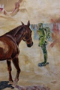 This represents the battle weary soldier being reunited with his horse, it still needs work