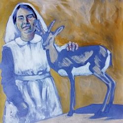 Sister Kate Booth and pet gazelle | acrylic on hand dyed paper | 2018 | 262mm x 262mm