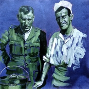 Sargent Slieght and Gunner Stuart   acrylic on hand dyed paper   2018   262mm x 262mm