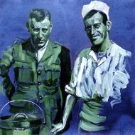 Sargent Slieght and Gunner Stuart | acrylic on hand dyed paper | 2018 | 262mm x 262mm