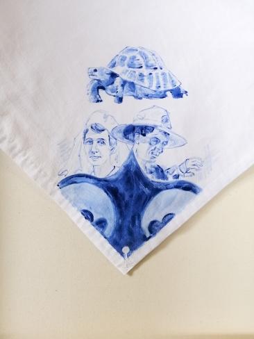 Nurses veil 1   fabric paint on hand stitched cotton veil   600mm x 630mm   for sale