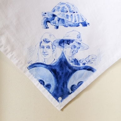 Nurses veil 1 | fabric paint on hand stitched cotton veil | 600mm x 630mm | for sale