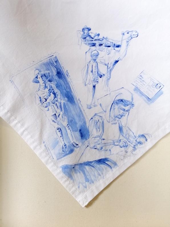 Nurses veil 2 | fabric paint on hand stitched cotton veil | 600mm x 630mm | for sale