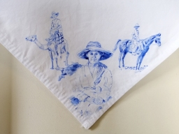 Nurses veil 3 | fabric paint on hand stitched cotton veil | 600mm x 630mm | for sale