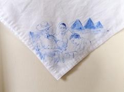 Nurses veil 4   fabric paint on hand stitched cotton veil   600mm x 630mm   for sale