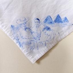 Nurses veil 4 | fabric paint on hand stitched cotton veil | 600mm x 630mm | for sale
