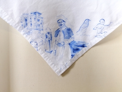 Nurses veil 5 | fabric paint on hand stitched cotton veil | 600mm x 630mm | for sale
