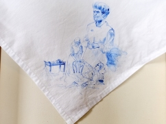 Nurses veil 6   fabric paint on hand stitched cotton veil   600mm x 630mm   for sale