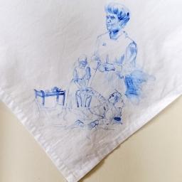 Nurses veil 6 | fabric paint on hand stitched cotton veil | 600mm x 630mm | for sale