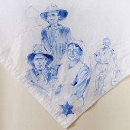Nurses veil 7 | fabric paint on hand stitched cotton veil | 600mm x 630mm | for sale