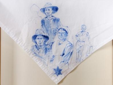 Nurses veil 7 | fabric paint on hand stitched cotton veil | 600mm x 630mm | for sale