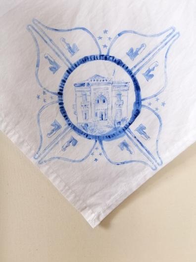 Nurses veil 8 | fabric paint on hand stitched cotton veil | 600mm x 630mm | for sale